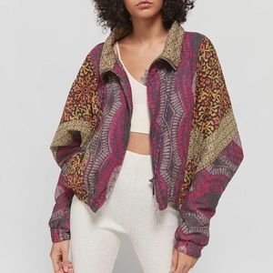 Urban Outfitters Iris Mixed Print Zip-Front Jacket